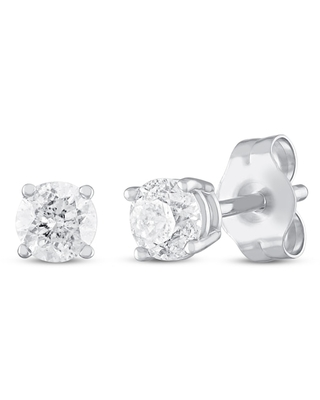 Diamond Solitaire Earrings 1/4 ct tw Round-Cut 14K White Gold