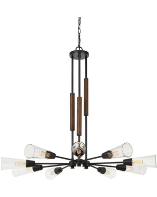 """39"""" x 39"""" x 32.75"""" Metal and Wood Vasto Chandelier with Glass Shade Brown - Cal Lighting"""