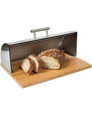 Honey Can Do Stainless Steel Bread Box with Bamboo Cutting Board KCH-08376