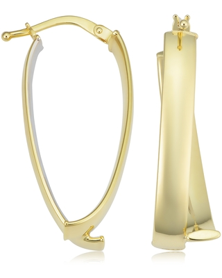 14k Two-tone Yellow and White Gold Bypass Oval Hoop Earrings