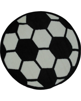 LA Rug Fun Time Shape Soccerball Black and White 3 ft. Round Area Rug, White/Black
