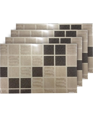 Dainty Home Shimmer Block Brown Reversible Metallic Placemats (Set of 4)