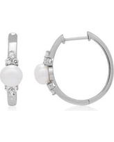 Belk & Co. Gray Freshwater Pearl and White Topaz Hoop Earrings in Sterling Silver