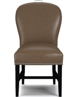 Maxwell Dining Side Chair with Handle, Italian Distressed Leather, Toffee, Polished Nickel
