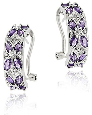 Glitzy Rocks Sterling Silver Amethyst and Diamond Half Hoop Earrings (Sterling Silver Diamond Accent Amethyst Half Hoop Earrings)