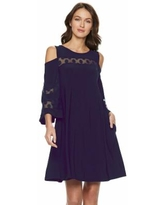 Women's Nina Leonard Lace Cold-Shoulder Shift Dress, Size: XL, Blue
