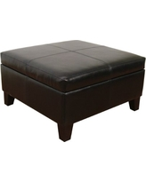 Large Black Faux Leather Storage Table Bench Living Room Bedroom