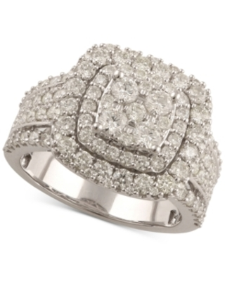 Diamond Raised Halo Cluster Engagement Ring (2 ct. t.w.) in 14k White Gold