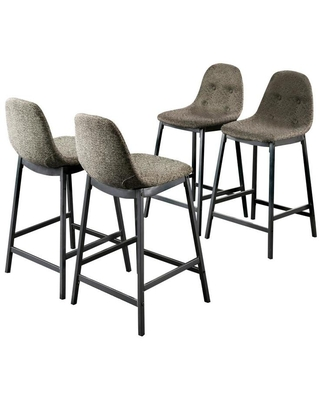 Furniture of America Set of 4 Hiltonia Linen Upholstered Dining Side Chair (Metal Frame) in Gray   IDF-3740PC-4PK
