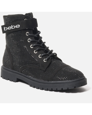 Bebe Women's Dayani Combat Boots, Size 7.5 in BLACK FAUX Synthetic