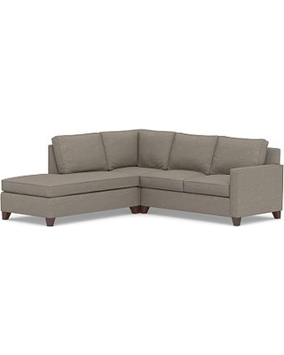 Cameron Square Arm Upholstered Right 3-Piece Bumper Sectional, Polyester Wrapped Cushions, Performance Chateau Basketweave Light Gray