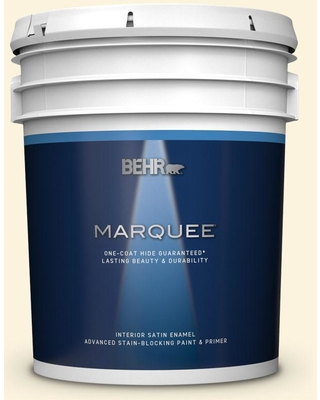 BEHR MARQUEE 5 gal. #P260-1 Glass of Milk Satin Enamel Interior Paint and Primer in One