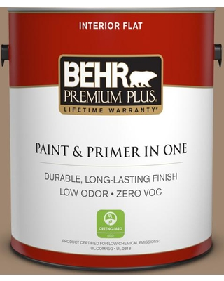 BEHR Premium Plus 1 gal. #700D-5 Toffee Crunch Flat Low Odor Interior Paint and Primer in One