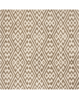 6'X6' Geometric Tufted Square Area Rug Ivory/Gray - Safavieh, White