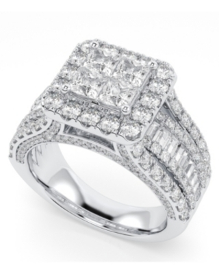 Diamond Princess Quad Halo Engagement Ring (3 ct. t.w.) in 14K White Gold