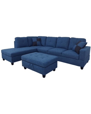 Star Home Living 3-Piece Blue Microfiber 4-Seater L-Shaped Right-Facing Chaise Sectional Sofa with Ottoman