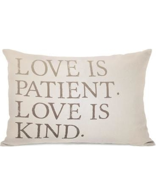 One Bella Casa Love is Patient Love is Kind Throw Pillow 74759PL42