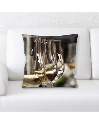 East Urban Home Wine Glasses Throw Pillow W001021438