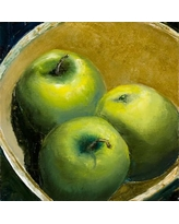 """Buy Art For Less 'Granny Smith Apples' Painting Print on Wrapped Canvas SEF007CAN Size: 12"""" H x 12"""" W x 1.5"""" D"""