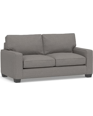 """PB English Arm Upholstered Loveseat 68"""", Down Blend Wrapped Cushions, Performance Chateau Basketweave Blue"""