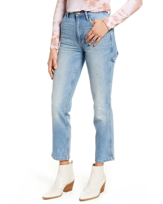 Women's Lee High Waist Dungaree Ankle Jeans, Size 24 - Blue