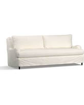 "Carlisle Slipcovered Grand Sofa 90.5"" with Bench Cushion, Down Blend Wrapped Cushions, Denim Warm White"