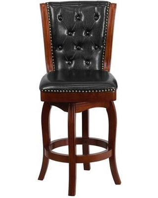 """TA-240126-CHY-GG 26"""" High Counter Height Stool with Black Leather Swivel Seat Button Tufted Back and Nail Head Trimmed Seat and Back in Cherry"""