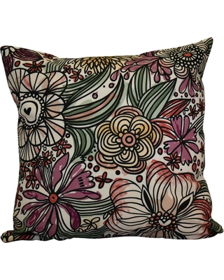 E BY DESIGN 16 in. x 16 in. Zentangle Floral, Floral Print Pillow, Purple