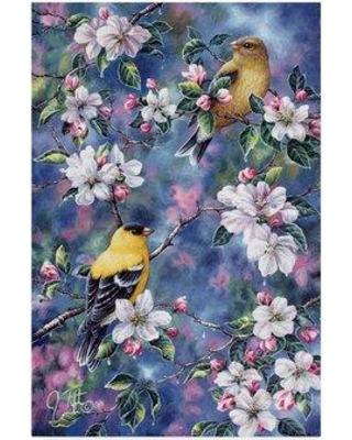 """Trademark Fine Art 'Gold Finch and Blossoms' Acrylic Painting Print on Wrapped Canvas ALI30258-CGG Size: 19"""" H x 12"""" W x 2"""" D"""