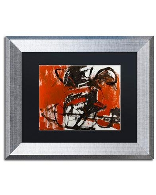 """Trademark Fine Art 'Black Horse' Framed Painting Print on Canvas MA0736-S1114BMF / MA0736-S1620BMF Matte Color: White Size: 11"""" H x 14"""" W x 0.5"""" D"""