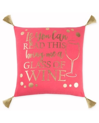 Rizzy Home Sweet Tea and Jesus Square Throw Pillow in Pink