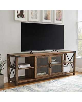 """Walker Edison Modern Farmhouse Metal X Wood Stand Storage Cabinet for TV's up to 64"""" Living Room (70 Inch) - Rustic Oak"""