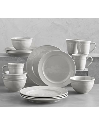 """Cambria Stoneware 16-Piece Dinnerware Set, 10 3/4"""" Dinner Plate with Cereal Bowl - Gray"""