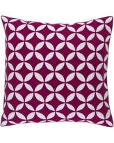 "Langley Street Veranda Throw Pillow LGLY5896 Size: 22"" H x 22"" W x 4"" D, Color: Hot Pink/Ivory"