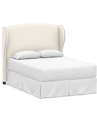 Raleigh Wingback Upholstered Headboard without Nailheads, Full, Performance Chateau Basketweave Ivory