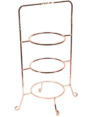 Creative Home 3-Tier Copper Plated Dessert Plate Rack, Cake Serving Tray, Fruit Presentation, Party Food Server Display