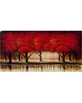 'Parade of Red Trees Ii' by Rio Ready to Hang Canvas Wall Art, Multi-Colored