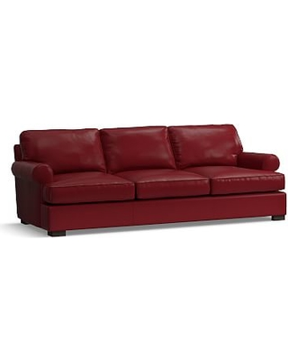 """Townsend Roll Arm Leather Grand Sofa 101.5"""", Polyester Wrapped Cushions, Leather Signature Berry Red"""