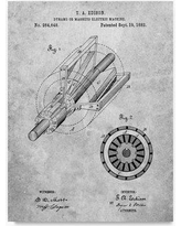 "Trademark Art 'Edison Dynamo Electrical Generator' Drawing Print on Wrapped Canvas ALI22106-C Size: 47"" H x 35"" W"