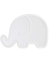 NoJo Elephant Shaped Mirror - Easy Hang Shatter Proof Mirror, Wooden Backed Decorative Mirror for Nursery, Kids Bedroom or Playroom, White