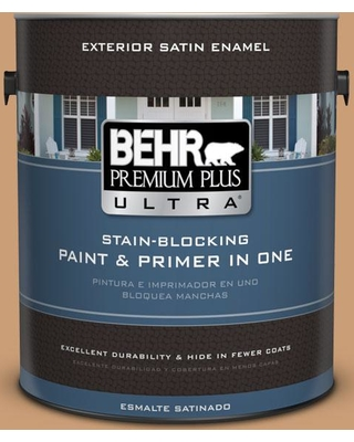 BEHR ULTRA 1 gal. #ICC-62 Pumpkin Butter Satin Enamel Exterior Paint and Primer in One