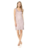 Adrianna Papell Women's Short Guipure Lace Dress with V Neckline, Pink Sateen, 6