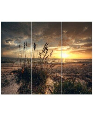 East Urban Home 'Grassy and Beach Sunset' Photographic Print Multi-Piece Image on Wrapped Canvas FCIV5183