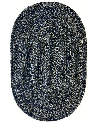 """Highland Dunes Aarush Hand-Braided Navy/Gold Indoor/Outdoor Area Rug W000314781 Rug Size: Oval 1'8"""" x 2'6"""""""