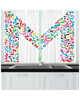 2 Piece Letter M Kitchen Curtain East Urban Home