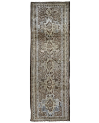 "Shahbanu Rugs Washed Out Afghan Baluch With Natural Colors Pure Wool Runner Hand Knotted Oriental Rug (2'9"" x 9'4"") (2'9"" x 9'4"" - Brown)"