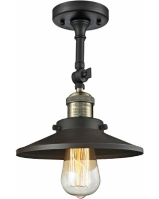 """Railroad 8"""" Wide Black and Brass Adjustable Ceiling Light"""