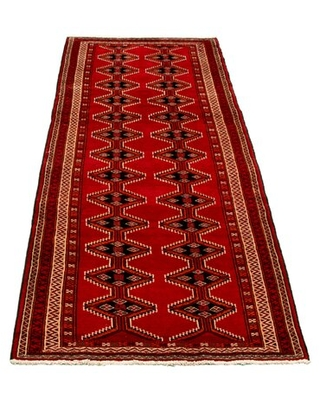 "One-of-a-Kind Hand-Knotted 1970s Anatolian Red/Black 3'7"" x 9'6"" Runner Wool Area Rug ECARPETGALLERY"