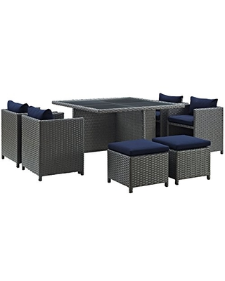 Modway Sojourn Wicker Rattan Outdoor Patio Sunbrella Fabric, 9-pc Dining Set in Canvas Navy