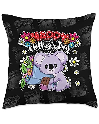 Funny Sayings And Mother's Day Designs Happy Day-I Love My Mother-Cute Koala Bear Throw Pillow, 18x18, Multicolor